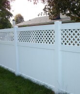 Photo of a white, private lattice fence.