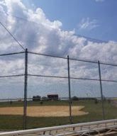 Photo of an athletic fence/baseball outfield fence.