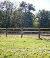 Photo of a residential wood rail fence.