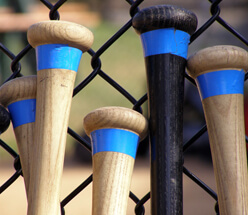 Photo of baseball bats next to a commercial fence.