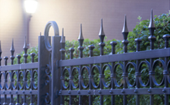 Photo of an ornamental company fence.