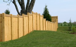 A Privacy Fence in Bloomington IL along a backyard